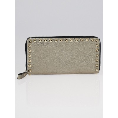 Valentino Bronze Pebbled Leather Rockstud Zippy Wallet