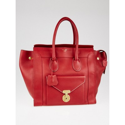 Celine Red Grained Leather Envelope Luggage Tote Bag
