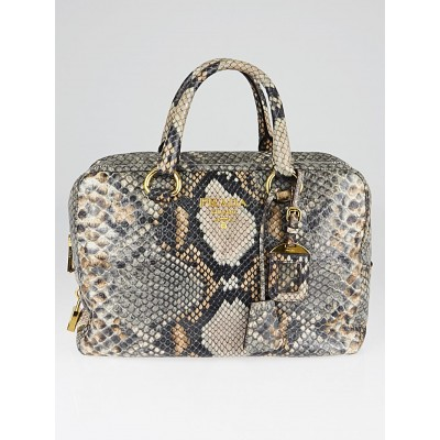 Prada Natural Snake Print Cervo Lux Leather Bauletto Bag BL555P