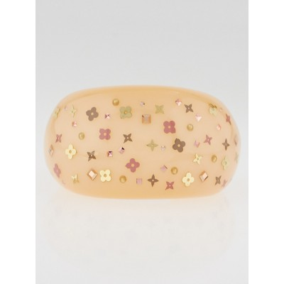 Louis Vuitton Peach Monogram Inclusion Art Deco Cuff Bracelet