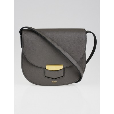 Celine Grey Grained Calfskin Leather Small Trotteur Bag