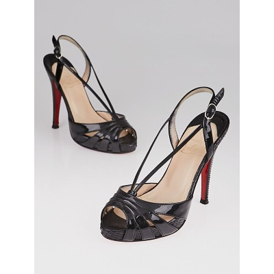Christian Louboutin Black Patent Leather and Python Activa Platform Sandals Size 4/34.5
