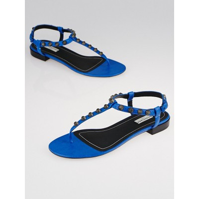 Balenciaga Blue Rivage Leather Studded T-Strap Sandals Size 8.5/39