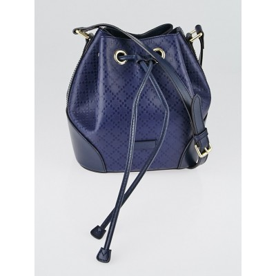 Gucci Navy Blue Diamante Leather Small Bucket Bag