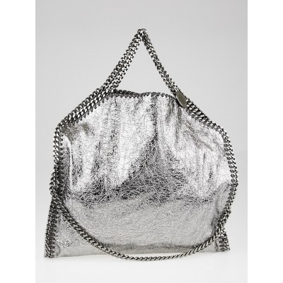Stella McCartney Metallic Ruthenium Crackled Faux-Leather Falabella Fold Over Tote Bag