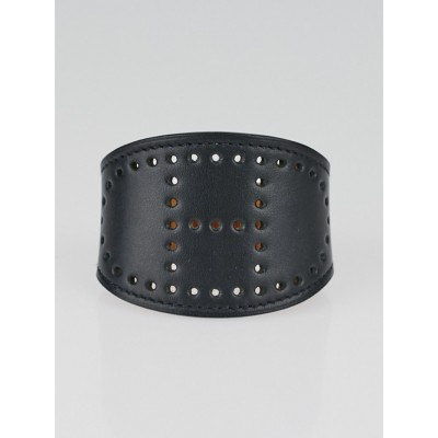 Hermes Black Swift Leather Evelyne Bracelet Size S
