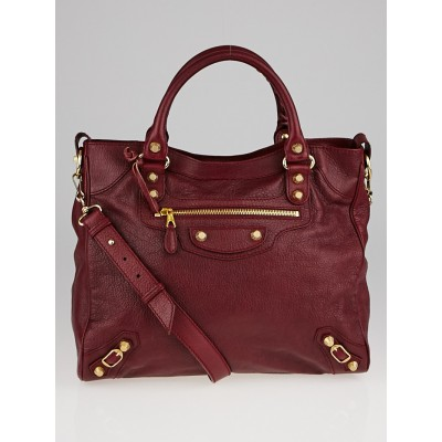 Balenciaga Dark Red Chevre Leather Giant 12 Gold Velo Bag