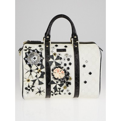 Gucci White GG Coated Canvas Floral Applique Medium Joy Boston Bag