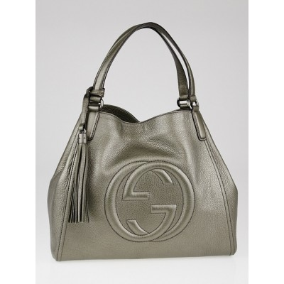 Gucci Pewter Pebbled Leather Soho Top Handle Tote Bag