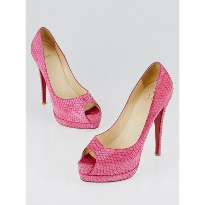 Christian Louboutin Pink Suede Watersnake Altadama 140 Peep-Toe Pumps Size 8.5/39