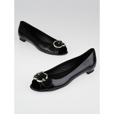 Gucci Black Patent Leather GG Buckle Peep-Toe Flats Size 8/38.5