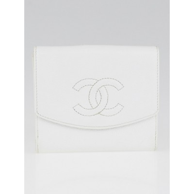 Chanel White Caviar Leather CC Compact Wallet