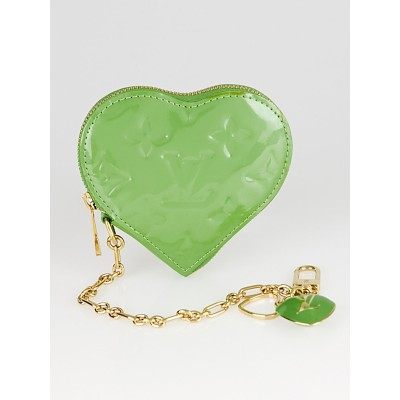 Louis Vuitton Vert Tonic Monogram Vernis Heart Coin-Purse