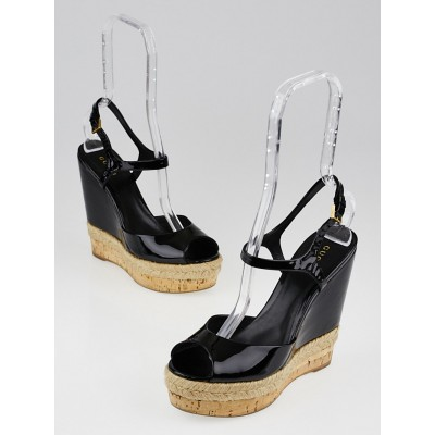 Gucci Black Patent Leather Hollie Wedge Sandals Size 6.5/37
