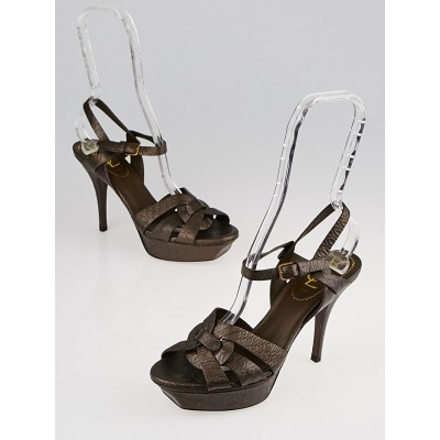 Yves Saint Laurent Brown Embossed Leather Tribute 75 Sandals Size 7/37.5