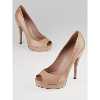 Gucci Nude Patent Leather Lisbeth Platform Peep Toe Pumps Size 7/37.5