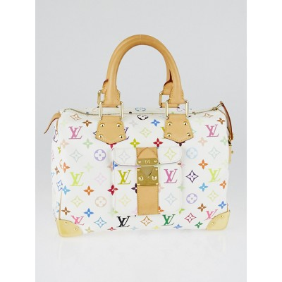 Louis Vuitton White Monogram Multicolor Speedy 30 Bag
