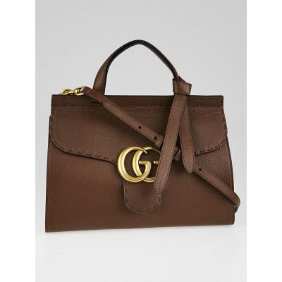 Gucci Brown Pebbled Leather Marmont Top Handle Bag
