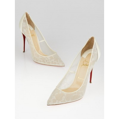 Christian Louboutin White Dentelle and Satin Pigalace Pumps Size 9.5/40