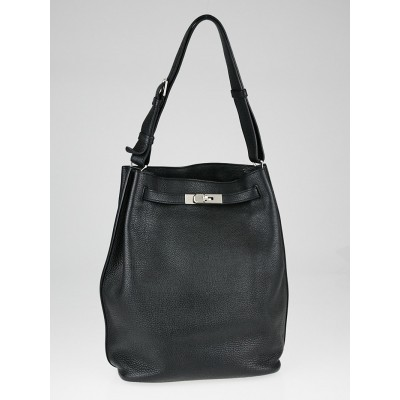 Hermes 26cm Black Togo Leather Palladium Plated So Kelly Bag