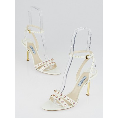 Prada White Patent Leather Studded Sandals Size 8.5/39
