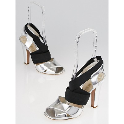 Prada Metallic Silver Leather Elastic Sandals Size 8.5/39