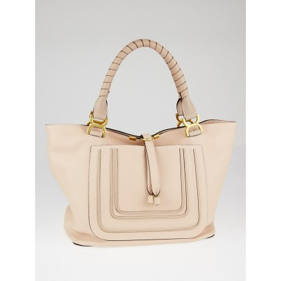 Chloe Light Pink Pebbled Leather Large Marcie Tote Bag