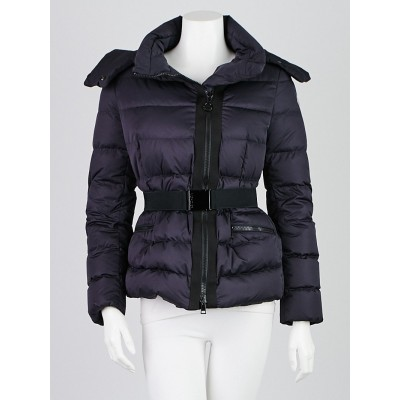 Moncler Blue Quilted Nylon Down Lavaud Hooded Jacket Size 0/XS