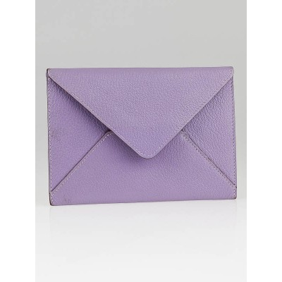 Hermes Lilac Chevre Leather Envelope Passport Holder