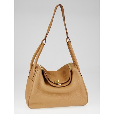 Hermes 30cm Tabac Camel Clemence Leather Gold Plated Lindy Bag