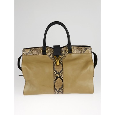 Yves Saint Laurent Brown Leather and Python Medium Cabas ChYc Bag