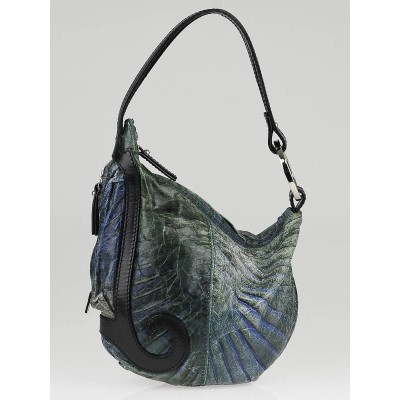 Fendi Blue Distressed Leather Small Oyster Bag