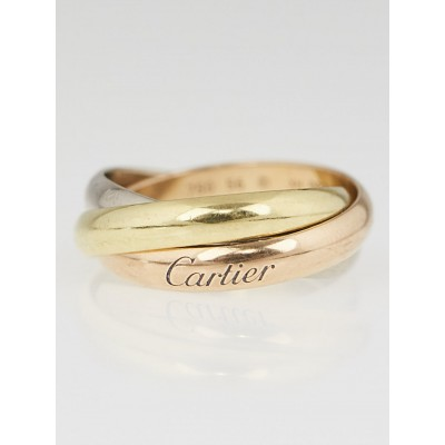 Cartier 18k Tri-Gold Trinity Small Ring Size 7.5/56