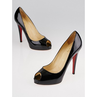 Christian Louboutin Black Patent Leather New Very Prive 120 Peep Toe Pumps Size 9/39.5