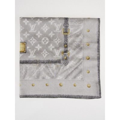 Louis Vuitton Grey Monogram Cotton Square Scarf