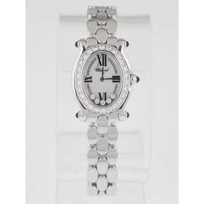 Chopard 18k White Gold and Diamond Happy Sport Oval 5 Floating Diamond Quartz Watch