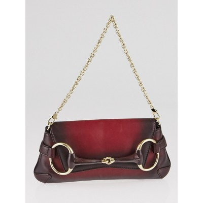 Gucci Red Soft Leather 1921 Collection Horsebit Chain Clutch Bag