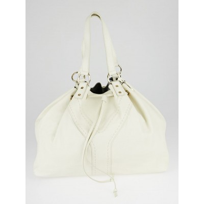 Yves Saint Laurent White/Pewter Leather Reversible Double Sac Y Tote Bag
