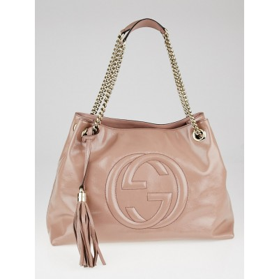 Gucci Beige Patent Leather Soho Chain Tote Bag
