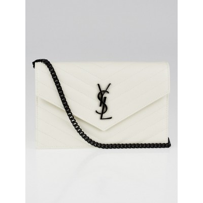 Yves Saint Laurent White Matelasse Quilted Grained Leather Envelope Chain Wallet Bag