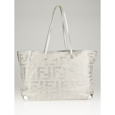 Fendi Silver Metallic Woven Leather Medium Shopper Roll Tote Bag