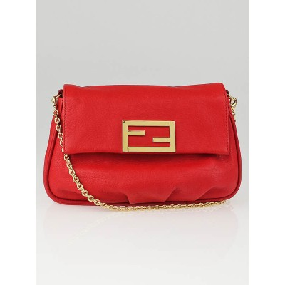 Fendi Red Leather Fendista Pochette Crossbody Bag