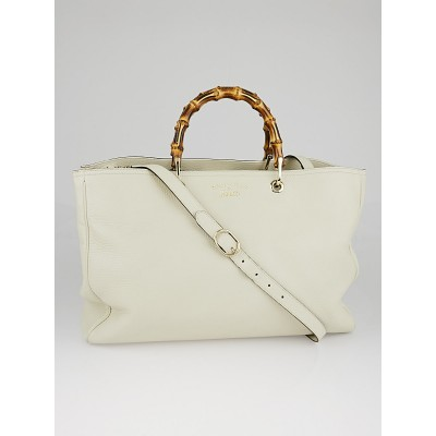 Gucci White Pebbled Leather Large Bamboo Shopper Tote Bag