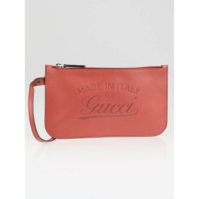 Gucci Pink Leather Signature Wristlet Pochette Bag