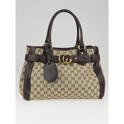 Gucci Beige/Ebony GG Canvas Running Medium Satchel Bag