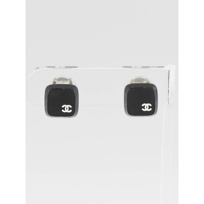 Chanel Black Resin Square CC Logo Clip-On Earrings