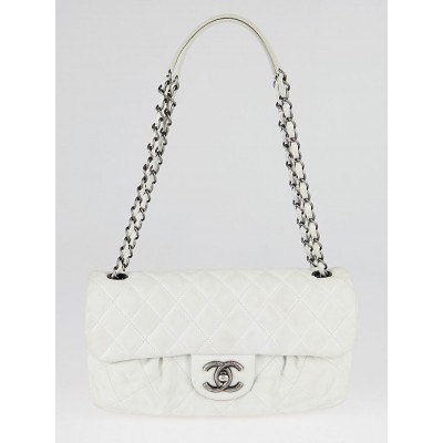 Chanel White Quilted Iridescent Calfskin Leather Chic Quilt Flap Bag