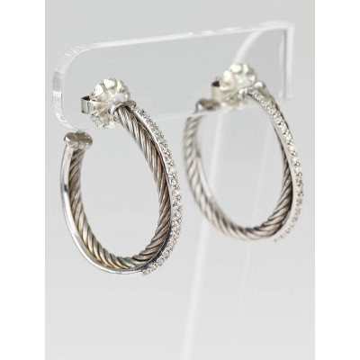 David Yurman Sterling Silver and 14k Gold Diamonds Cable Medium Hoop Earrings