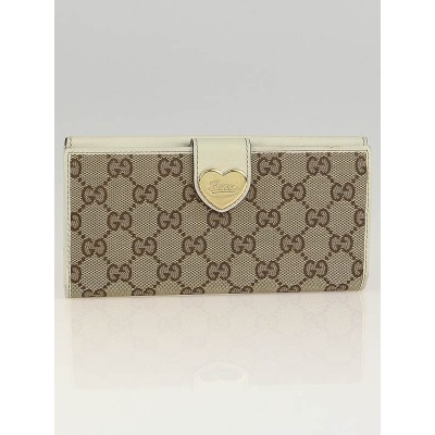 Gucci Beige/White GG Canvas Engraved Heart Continental Wallet