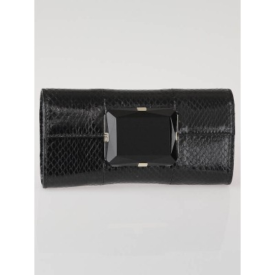 Gucci Black Python Jeweled Mini Clutch Bag